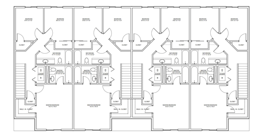 Floor Plans   Bella 4Plex 3 Bed